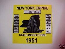 new york 1951 inspection sticker windshild