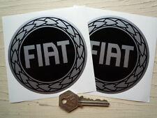 "FIAT Black & Silver Garland STICKERS 4"" For Classic Punto Abarth Coupe Panda 500"