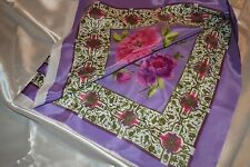 2 Square Polyester Satin feel Fabric Material Large Pink Flowers Purple Accents