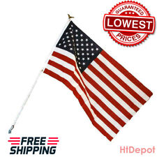 American Flag Kit - Includes Flag, White Steel Pole w Eagle and Mounting Bracket