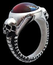 Sterling Silver engagement Skull Ring Garnet Eternal Lovers Inspired Hr Giger