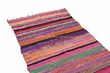 Large Area Rag Rug Runner Hand Loomed Vintage Yoga Carpet Floor Throw Mat 4x6