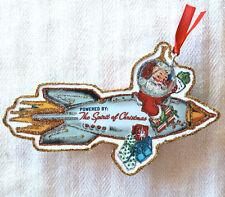 Glittered Handmade CHRISTMAS ORNAMENT~ Santa in Rocket~ Vintage Card Image