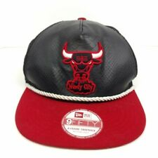 New Era Windy City Chicago Bulls Faux Leather Black Snapback Hat Trucker  Used da3e080e49fc