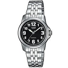 Casio Uhr LTP-1260PD-1B Damen Armbanduhr Edelstahl Silber Schwarz NEU & OVP