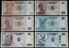 CONGO - Set of 6 Banknotes Notes: 10-500 Francs 2000-2007 (UNC)