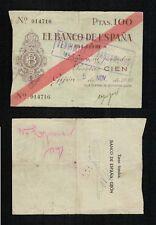 Gijón 100 Pesetas 1936. Caja Central de Depósitos. Número bajo 014716. BONITO.