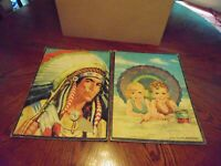 """Vintage Two 11 x 14 in Tray Puzzles 1940s to 50s """"Indian"""" and """"Beach Scene"""" Good"""