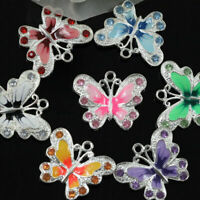 20Pcs Enamel Butterfly Pendant Charms Jewelry Making Craft DIY Rhinestone Design
