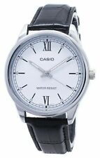 Casio MTP-V005L-7B2 Men's Standard Analog Black Leather Band WHITE Dial Watch