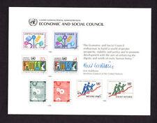 """United Nations (Sc 18) """" Economic & Social Council """" 1980 Souvenir Card Set of 4"""