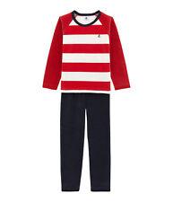 PETIT BATEAU Schlafanzug Pyjama Blockstreifen rot weiß blau Gr. 4 - 12 Jahre