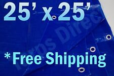 25' x 25' Blue Poly Tarp 2.9 OZ. Economy Lightweight Waterproof Cover
