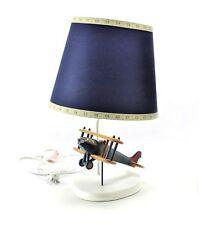 (1) Airplane Biplane Desk Table Lamp Light Blue Aviation Boys Room Nursery