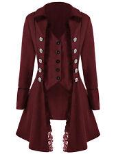 Womens Button Victorian Steampunk Gothic Dressage Tailcoat Corset Back Jacket