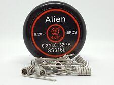 10 résistances, coil, SS316L INOX alien Clapton 0.28 ohm