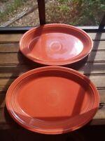 "(2) Fiestaware Oval Large Serving Platter Fiesta 13.5"" x 9.5"" Paprika/Permisson?"