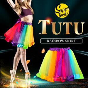 Adult Girl Rainbow Tutu Skirt Princess Dressup Party Costume Ballet Dancewear OZ