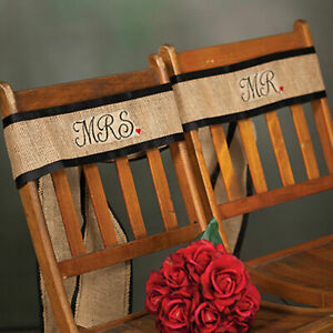 Mr and Mrs Wedding Chair Sashes Decorations For the Bride and Groom Rustic