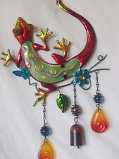 Windchimes-Whimsical Hand Painted Lizard Windchime-Metal and Glass construction