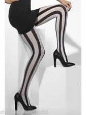 Ladies Sexy Black & White Vertical Striped Opaque Halloween Fancy Dress Tights
