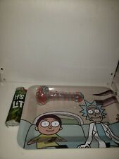Rick and morty rolling tray andglass pipe for smoking
