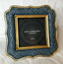 4x4 Picture Frame Chic Comforts by Azzure Home Antiqued Ornate Style Blue Gold