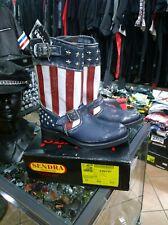 Stivali Boots Moto Biker SENDRA bandiera USA vera pelle suola cucita ultimi