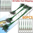 New 60Pcs Traces Wires Pike Card Rolling Swivels Safety Snap Fishing Lures Hook