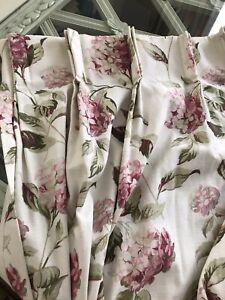 "Vintage Hydrangea Pink Natural Curtains W104"" (fixed@56"") x L82"" (264cm x 208cm)"