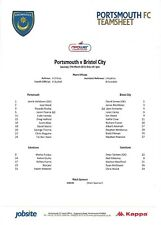 Teamsheet - Portsmouth v Bristol City 2011/12