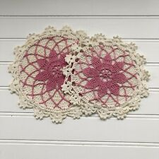 2 Vintage Handmade Crocheted Pink and White Round Doilies