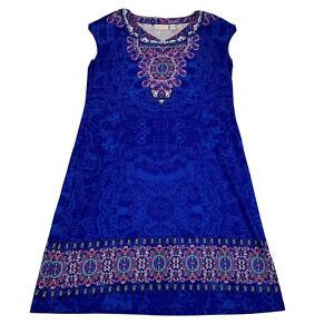 Chico's A-Line Dress Women's Size 1 (Medium) Blue Mandala Print Made in USA