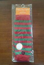 NIP Baby Leg Warmers Red Green Stripes Girl Boy Christmas 89% Organic Cotton