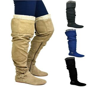 Brand New Ladies Women Mid Half Knee Suede Pull On Winter Boot UK Size 6.5-12
