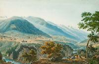 Blick auf Disentis und Kloster der Schweizer Benediktiner, 19.Jhd., Aquatinta