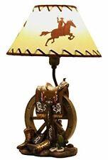 Ebros Horse Saddle Set On Wagon Wheel & Cowboy Boots Desktop Table Lamp