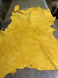 Gold Deer Leather Hide. Deer Hair Off, Suede/#3 Grain