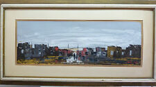 Fine Listed Shaul Ohali Oil Painting, Figures in an Old Township, 25 x 70 cm