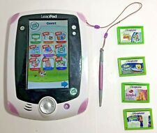 Leap Frog Leappad W/ 4 GAMES Learning Tablet Pink Stylus Kids Children Education