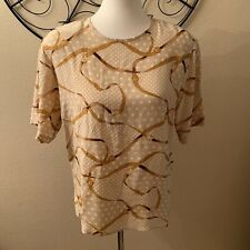 Allison Taylor Silk Gold Chain Blouse Size Med