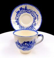 "ROYAL DOULTON #D6294 BLUE NORFOLK SCALLOPED RIM 2 3/8"" FLAT CUP AND SAUCER SET"