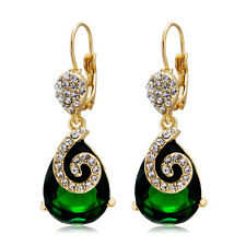 18K Rose Gold Plated made with Green Swarovski Crystal Party Dangle Earring