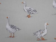 Clarke and Clarke Geese Birds Natural Designer Curtain Upholstery Craft Fabric