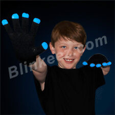Black with White Tip LED Light Up Rave Gloves Flashing Lights FUN!
