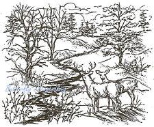 Deer Buck & Doe Trees & Stream Wood Mounted Rubber Stamp NORTHWOODS - P1859 New