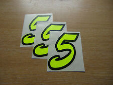 set of 3 - Black & Fluorescent Yellow number 5 decals - 95mm high stickers
