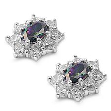 Silver Earrings with Cubic Zirconia Stud Rainbow Topaz Height 13 mm (0.54 inch)