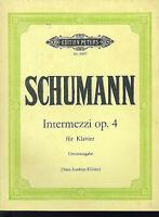 "Schumann : "" Intermezzi Opus 4 "" ( Hans Joachim Köhler) - Urtextausgabe"