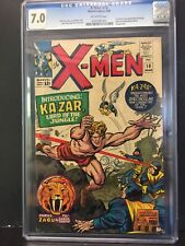💎🔥X-MEN #10 CGC 7.0 OW 1st app KA-ZAR•ZABU•SAVAGE LAND   KIRBY & LEE 🎥🔑
